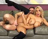 Georgeus blonde MILF with big tits fuck in boots