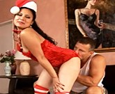 Amazing Brunette Eva Is Your Santa Baby Tonight