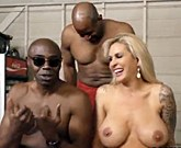 Busty blonde Ryan Conner gets interracial double penetration