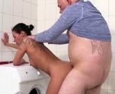 German Mom fucks with thick plumber