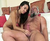 Young cute girl fucks with old man